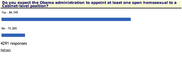 The results of a One New Now poll are really cool: We should take them up on their expectations. Openly gay Secretary of Something? Sounds cool to me.